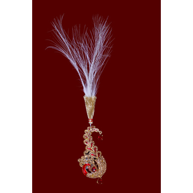 S H A H I T A J Traditional Golden with Red Stone Peacock Brooch or Kalangi with Feather for Barati/Groom/Social Occasions Pagdi Safa or Turban (OS825)-ST945