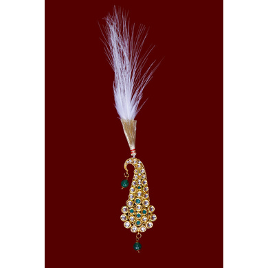 S H A H I T A J Traditional Golden with Green Stone Brooch or Kalangi with Feather for Barati/Groom/Social Occasions Pagdi Safa or Turban (OS826)-ST946