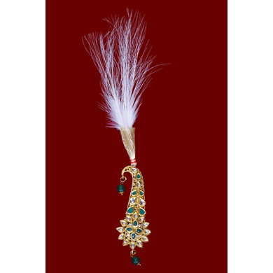 S H A H I T A J Traditional Golden with Green Stone Brooch or Kalangi with Feather for Barati/Groom/Social Occasions Pagdi Safa or Turban (OS827)-ST947