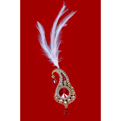 S H A H I T A J Traditional Golden with Red Stone Brooch or Kalangi with Feather for Barati/Groom/Social Occasions Pagdi Safa or Turban (OS829)-ST949