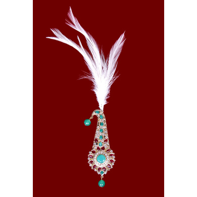 S H A H I T A J Traditional Golden with Multicolor Stone Brooch or Kalangi with Feather for Barati/Groom/Social Occasions Pagdi Safa or Turban (OS830)-ST950