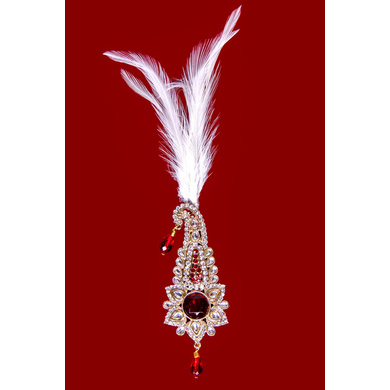 S H A H I T A J Traditional Golden with Red Stone Brooch or Kalangi with Feather for Barati/Groom/Social Occasions Pagdi Safa or Turban (OS831)-ST951
