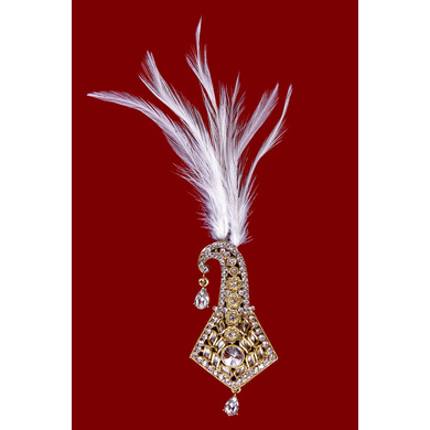 S H A H I T A J Traditional Golden Brooch or Kalangi with Feather for Barati/Groom/Social Occasions Pagdi Safa or Turban (OS832)-ST952