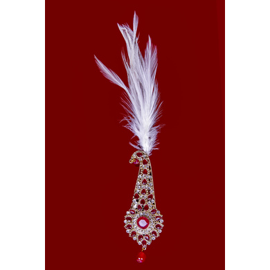 S H A H I T A J Traditional Golden with Red Stone Brooch or Kalangi with Feather for Barati/Groom/Social Occasions Pagdi Safa or Turban (OS828)-ST948