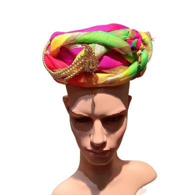S H A H I T A J Traditional Rajasthani Multi-Colored Silk Bhagwan Vantma or Barmeri Pagdi Safa or Turban for God's Idol/Kids/Adults (RT851)-ST971_Mini