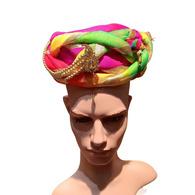 S H A H I T A J Traditional Rajasthani Multi-Colored Silk Bhagwan Vantma or Barmeri Pagdi Safa or Turban for God's Idol/Kids/Adults (RT851)