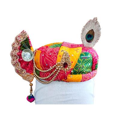 S H A H I T A J Traditional Rajasthani Multi-Colored Silk Krishna Bhagwan Pagdi Safa or Turban with Brooch for God's Idol/Kids/Adults (RT852)-ST972_Adults