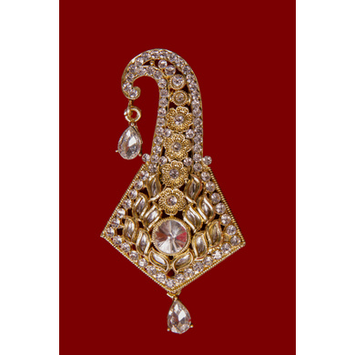 S H A H I T A J Traditional Golden Brooch or Kalangi with Feather for Barati/Groom/Social Occasions Pagdi Safa or Turban (OS832)-1
