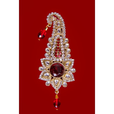 S H A H I T A J Traditional Golden with Red Stone Brooch or Kalangi with Feather for Barati/Groom/Social Occasions Pagdi Safa or Turban (OS831)-1