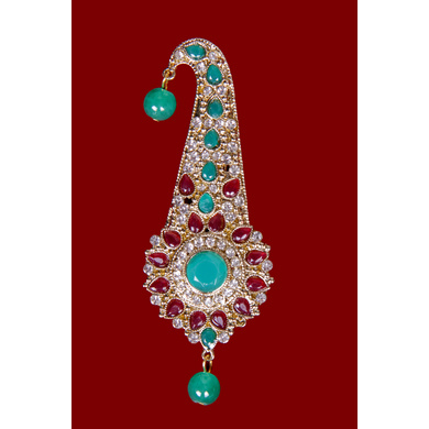 S H A H I T A J Traditional Golden with Multicolor Stone Brooch or Kalangi with Feather for Barati/Groom/Social Occasions Pagdi Safa or Turban (OS830)-1