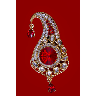 S H A H I T A J Traditional Golden with Red Stone Brooch or Kalangi with Feather for Barati/Groom/Social Occasions Pagdi Safa or Turban (OS829)-1