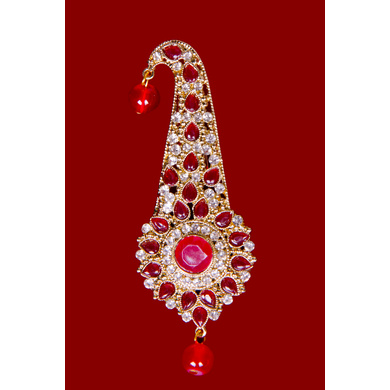 S H A H I T A J Traditional Golden with Red Stone Brooch or Kalangi with Feather for Barati/Groom/Social Occasions Pagdi Safa or Turban (OS828)-1
