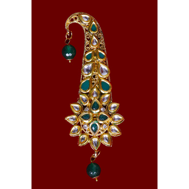 S H A H I T A J Traditional Golden with Green Stone Brooch or Kalangi with Feather for Barati/Groom/Social Occasions Pagdi Safa or Turban (OS827)-1