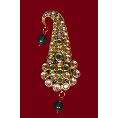 S H A H I T A J Traditional Golden with Green Stone Brooch or Kalangi with Feather for Barati/Groom/Social Occasions Pagdi Safa or Turban (OS826)-1