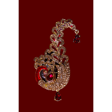 S H A H I T A J Traditional Golden with Red Stone Peacock Brooch or Kalangi with Feather for Barati/Groom/Social Occasions Pagdi Safa or Turban (OS825)-1