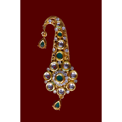S H A H I T A J Traditional Golden with Green Stone Brooch or Kalangi with Feather for Barati/Groom/Social Occasions Pagdi Safa or Turban (OS824)-1