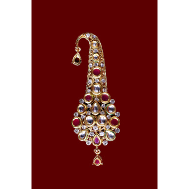 S H A H I T A J Traditional Golden with Pink Stone Brooch or Kalangi with Feather for Barati/Groom/Social Occasions Pagdi Safa or Turban (OS822)-1