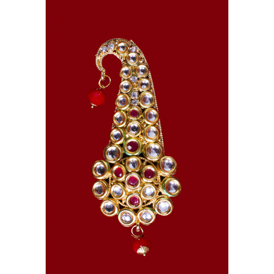 S H A H I T A J Traditional Golden with Pink Stone Brooch or Kalangi with Feather for Barati/Groom/Social Occasions Pagdi Safa or Turban (OS821)-1