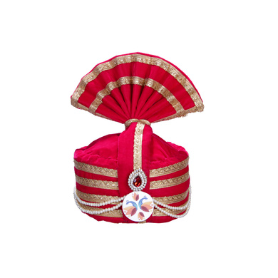 S H A H I T A J Designer Pink Velvet Kids and Adults Hotel or Restaurant Pagdi Safa or Turban for Welcoming Guests (DT834)-ST954_21andHalf