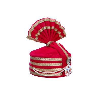 S H A H I T A J Designer Pink Velvet Kids and Adults Hotel or Restaurant Pagdi Safa or Turban for Welcoming Guests (DT834)-18-3