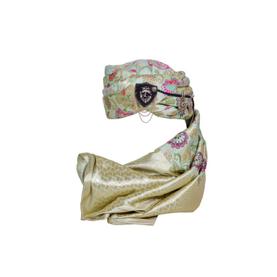 S H A H I T A J Designer Multi-Colored Brocade Unisex Kids and Adults Pagdi Safa or Turban for Fashion Shows & Events (DT836)-ST956_21andHalf