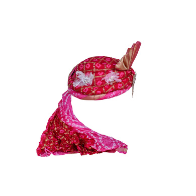 S H A H I T A J Designer Pink Silk Bandhej Kids and Adults Pagdi Safa or Turban for Fashion Shows & Events (DT837)-18-4