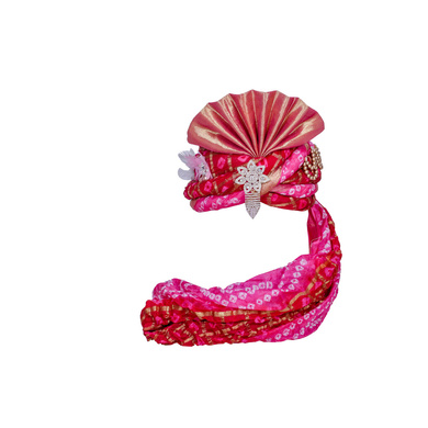 S H A H I T A J Designer Pink Silk Bandhej Kids and Adults Pagdi Safa or Turban for Fashion Shows & Events (DT837)-ST957_21andHalf