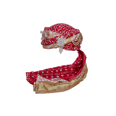 S H A H I T A J Designer Silk Bandhej Kids and Adults Pagdi Safa or Turban for Fashion Shows & Events (DT838)-ST958_21andHalf