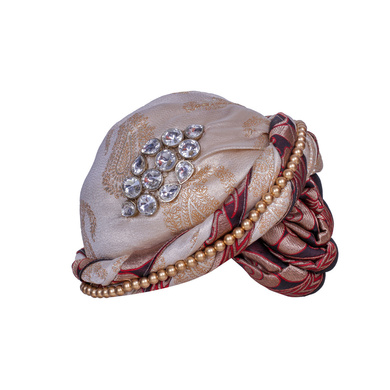 S H A H I T A J Designer Brocade Unisex Kids and Adults Pagdi Safa or Turban for Fashion Shows & Events (DT840)-ST960_19andHalf