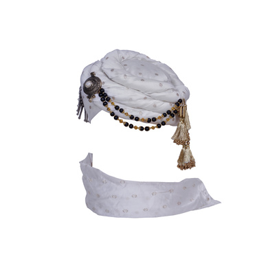 S H A H I T A J Designer White Silver Dotted Unisex Kids and Adults Pagdi Safa or Turban for Fashion Shows & Events (DT841)-18-3