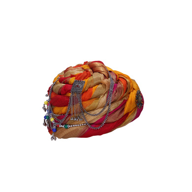 S H A H I T A J Designer Multi-Colored Silk Women Kids and Adults Pagdi Safa or Turban for Fashion Shows & Events (DT843)-18-3