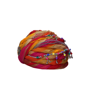 S H A H I T A J Designer Multi-Colored Silk Women Kids and Adults Pagdi Safa or Turban for Fashion Shows & Events (DT843)-18-4