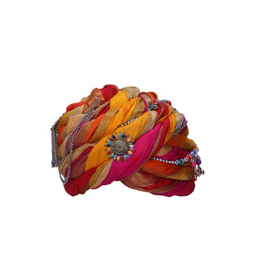 S H A H I T A J Designer Multi-Colored Silk Women Kids and Adults Pagdi Safa or Turban for Fashion Shows & Events (DT843)-ST963_21andHalf