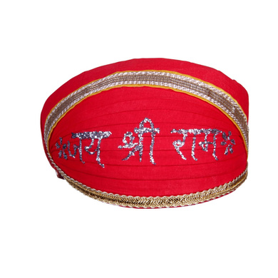 S H A H I T A J Traditional Rajasthani Cotton Mewadi Jai Shree Ram Pagdi or Turban for Kids and Adults (MT854)-ST974_18andHalf