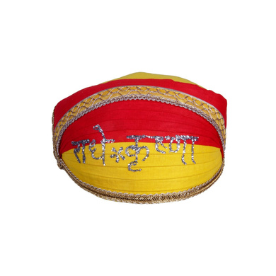 S H A H I T A J Traditional Rajasthani Cotton Mewadi Radhe Krishna Pagdi or Turban for Kids and Adults (MT855)-ST975_22andHalf