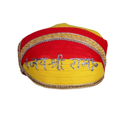 S H A H I T A J Traditional Rajasthani Cotton Mewadi Jai Shree Ram Pagdi or Turban for Kids and Adults (MT856)-ST976_18andHalf