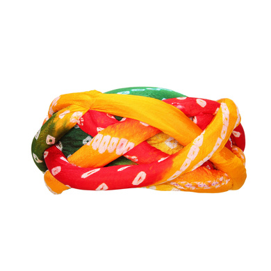 S H A H I T A J Traditional Rajasthani Faux Silk Adjustable Vantma or Barmeri Multi-Colored Bandhej Pagdi Safa or Turban for Kids and Adults (RT857)-ST977_20andHalf