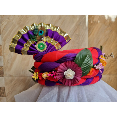 S H A H I T A J Traditional Rajasthani Multi-Colored Silk Vantma or Barmeri Krishna or Ganpati Bhagwan Pagdi Safa or Turban for God's Idol/Kids/Adults (RT860)-ST980_Large