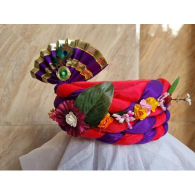 S H A H I T A J Traditional Rajasthani Multi-Colored Silk Vantma or Barmeri Krishna or Ganpati Bhagwan Pagdi Safa or Turban for God's Idol/Kids/Adults (RT860)-For Miniature God's Idol (3 inches to 16 inches)-4
