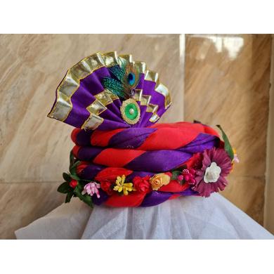 S H A H I T A J Traditional Rajasthani Multi-Colored Silk Vantma or Barmeri Krishna or Ganpati Bhagwan Pagdi Safa or Turban for God's Idol/Kids/Adults (RT860)-For Miniature God's Idol (3 inches to 16 inches)-3
