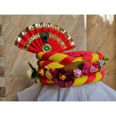 S H A H I T A J Traditional Rajasthani Multi-Colored Silk Vantma or Barmeri Krishna or Ganpati Bhagwan Pagdi Safa or Turban for God's Idol/Kids/Adults (RT861)-ST981_Large