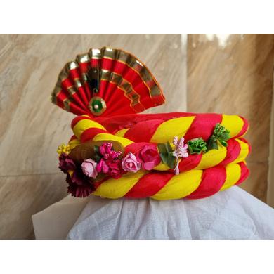 S H A H I T A J Traditional Rajasthani Multi-Colored Silk Vantma or Barmeri Krishna or Ganpati Bhagwan Pagdi Safa or Turban for God's Idol/Kids/Adults (RT861)-For Miniature God's Idol (3 inches to 16 inches)-4