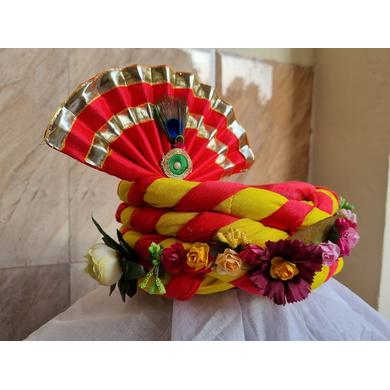 S H A H I T A J Traditional Rajasthani Multi-Colored Silk Vantma or Barmeri Krishna or Ganpati Bhagwan Pagdi Safa or Turban for God's Idol/Kids/Adults (RT861)-For Miniature God's Idol (3 inches to 16 inches)-3