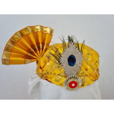 S H A H I T A J Traditional Rajasthani Yellow Mock Cloth Krishna Bhagwan Pagdi Safa or Turban for God's Idol/Kids/Adults (RT864)-ST984_Kids