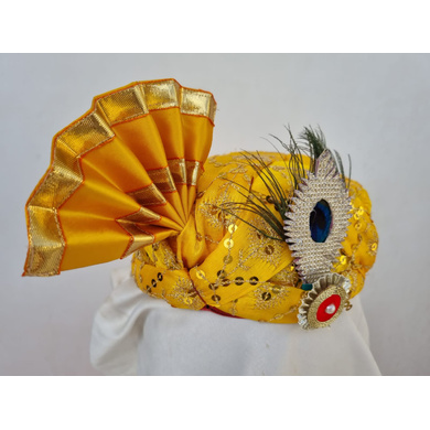 S H A H I T A J Traditional Rajasthani Yellow Mock Cloth Krishna Bhagwan Pagdi Safa or Turban for God's Idol/Kids/Adults (RT864)-For Miniature God's Idol (3 inches to 16 inches)-4