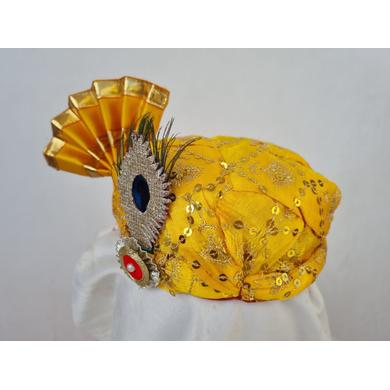 S H A H I T A J Traditional Rajasthani Yellow Mock Cloth Krishna Bhagwan Pagdi Safa or Turban for God's Idol/Kids/Adults (RT864)-For Miniature God's Idol (3 inches to 16 inches)-3