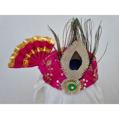 S H A H I T A J Traditional Rajasthani Pink Mock Cloth Krishna Bhagwan Pagdi Safa or Turban for God's Idol/Kids/Adults (RT865)-ST985_Mini
