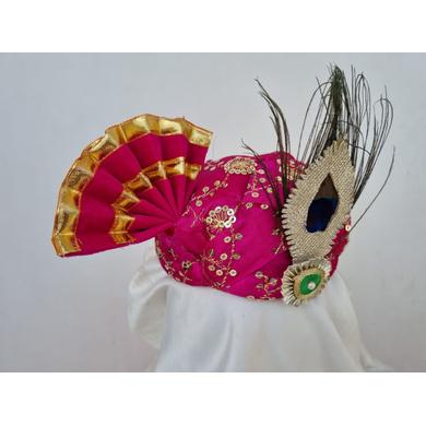 S H A H I T A J Traditional Rajasthani Pink Mock Cloth Krishna Bhagwan Pagdi Safa or Turban for God's Idol/Kids/Adults (RT865)-For Miniature God's Idol (3 inches to 16 inches)-3