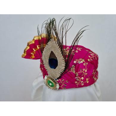 S H A H I T A J Traditional Rajasthani Pink Mock Cloth Krishna Bhagwan Pagdi Safa or Turban for God's Idol/Kids/Adults (RT865)-For Miniature God's Idol (3 inches to 16 inches)-4