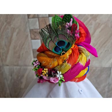 S H A H I T A J Traditional Rajasthani Silk Krishna or Ganpati Bhagwan Pagdi Safa or Turban for God's Idol/Kids/Adults (RT866)-ST986_Mini